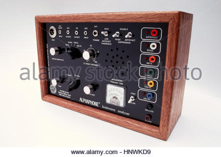 Original ALPHAPHONE brainwave analyzer designed by R. Timothy Scully, PhD in 1972 - Stock Image