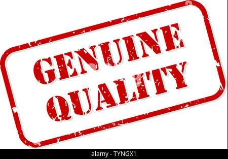 Genuine quality red rubber stamp vector isolated - Stock Image
