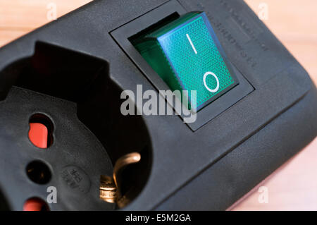 Power switch button and plug - Stock Image