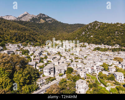 Panagia traditional village and tourist attraction on Thasos Island (Thassos). All houses are white with a stone roof - Stock Image