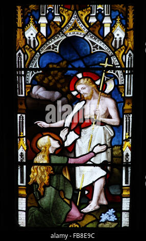 East window by Lavers, Berraud and Westlake, depicting Mary Magdalene at Jesus's tomb St Peter's Church, - Stock Image