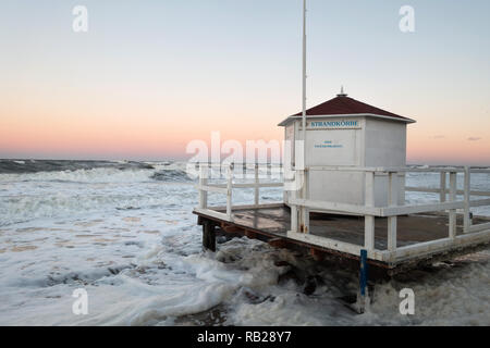 storm flood, on the coast of the baltic sea at kuehlungsborn, germany - Stock Image