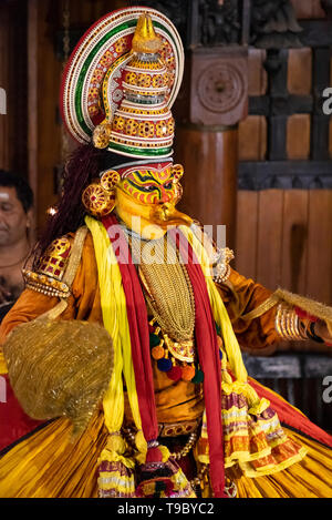 Vertical portait of a Kathakali performer in Kerala, India. - Stock Image