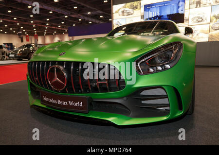Front view of a Mercedes-AMG GT R  on display at the  Mercedes-Benz World Stand, of the 2018 London Motor Show - Stock Image