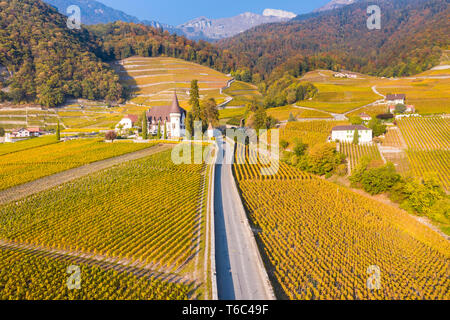 Chateau Maison Blanche, Yvorne, Canton of Vaud, Switzerland - Stock Image