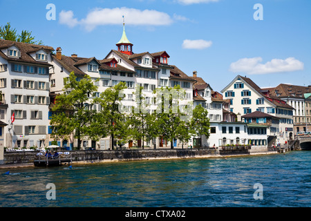 A scene across the River Limmat in Zurich, Switzerland - Stock Image