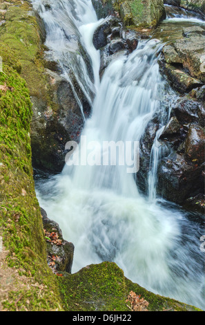 Waterfalls of the River Avon upstream of  Shipley Bridge in Dartmoor National Park, Devon - Stock Image