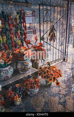 Flower Market in Santa Fe, New Mexico - Stock Image