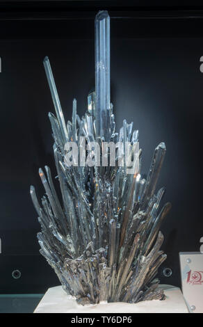 Nature antimony mineral stibnite. Geological Museum of China. - Stock Image