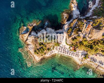 Aerial view of Thasos Greece Karnagio Beach near Limenas town - Stock Image