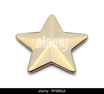 Metal Gold Star Isolated on White Background. - Stock Image