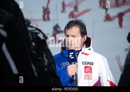 09 December 2018 Michel Vion president of the FFS the Fédération Francaise de Ski French Ski Federation talks about the cancellation of the slalom ski - Stock Image