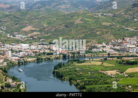 patterns of vines in vineyards in the Alto Douro Port Wine region of Portugal in Summer looking towards the area of Peso da Regua and river Douro - Stock Image