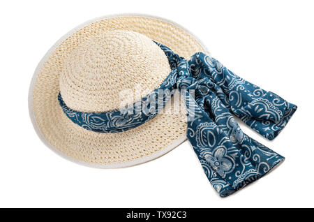 Woman hat with blue headscarf isolated on white - Stock Image
