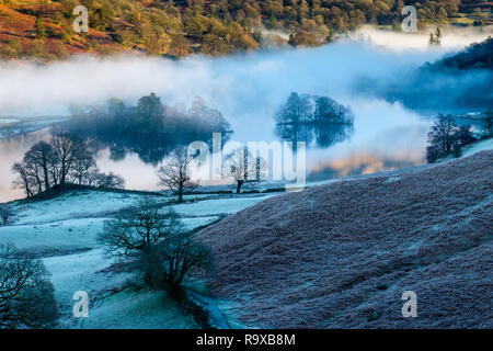 Heron Island and Little Isle on Rydal Water in low mist, near Grasmere, Lake District, Cumbria - Stock Image