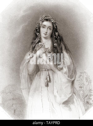 Ophelia.  Principal female character from Shakespeare's play Hamlet. From Shakespeare Gallery, published c.1840. - Stock Image