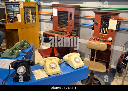 View of a historic telephone exchange / switchboard at Connected Earth Exhibition at the Milton Keynes Museum, Buckinghamshire, UK - Stock Image
