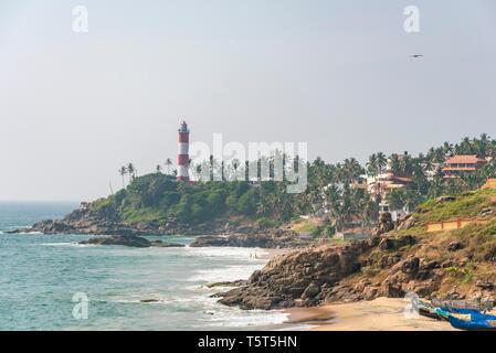 Horizontal view of Lighthouse beach in Kovalam Kerala, India. - Stock Image