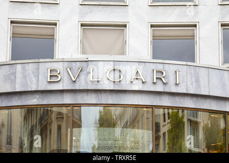 PARIS, FRANCE - JULY 22, 2017: Bulgari luxury store sign in Paris, France. - Stock Image