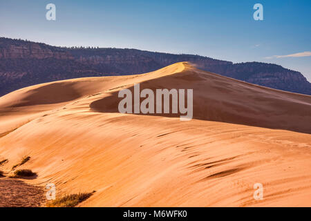 Dunes at sunrise, Moquith Mountains in distance, Coral Pink Sand Dunes State Park, Utah, USA - Stock Image