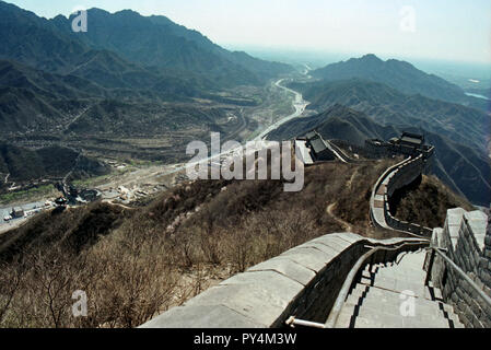 View of the Great Wall of China from high up on the walls - Stock Image