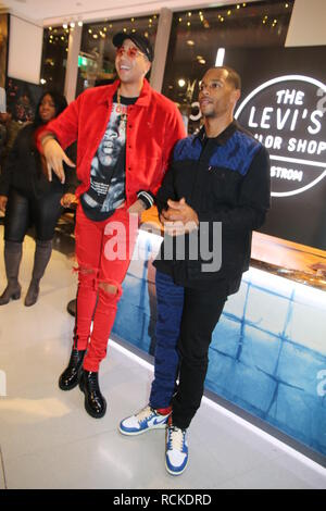 New York Giants wide receiver Victor Cruz hosts Levi's Tailor Shop Holiday Event at Nordstrom  Featuring: Miles Chamley Watson, Victor Cruz Where: New York City, New York, United States When: 14 Dec 2018 Credit: IZZY/WENN.com - Stock Image