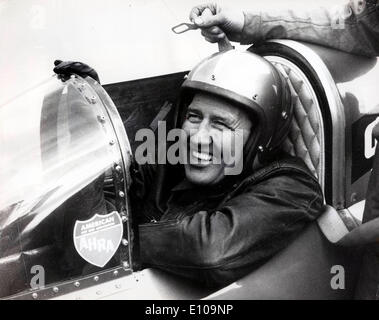 Mar 20, 1970; Salisbury, UK; Driving his green monster at Hurn airport, Bournemouth yesterday, American driver ART ARFONS, three times holder of the world land speed record, yesterday reached a speed of nearly 300 m.p.h.. He hopes to take the record back from another American Craig Breedlove, in the United States this year. The record stands at 613 m.p.h.. yesterday's speed was the fastest ever reached by a car in Britain. The picture shows Art seated in his green monster at Hurn airport yesterday. - Stock Image