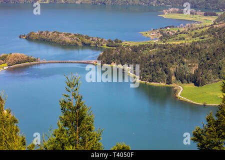 A view of Sete Cidades lake in the Azores - Stock Image