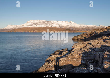 Looking across Ben More Coigach from Rhue - Stock Image
