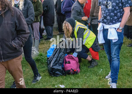 Stonehenge, Amesbury, UK, 21st June 2018,   Marshal picking up litter from inside the stone circle at the summer solstice  Credit: Estelle Bowden/Alamy Live News. - Stock Image