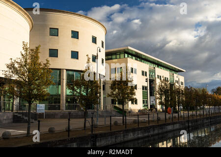 Civic Centre with row of trees in autumnal colour at Lagan Valley Island, Lisburn, County Antrim, N.Ireland. - Stock Image