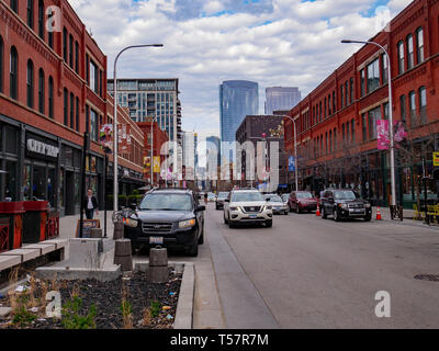 Fulton Market District, former industrial and meat packing area, now a restaurant and entertainment area. Chicago, Illinois - Stock Image