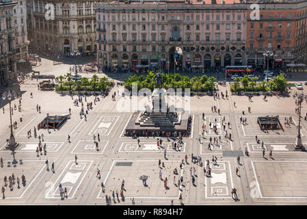 Horizontal aerial cityscape of Piazza del Duomo in Milan, Italy. - Stock Image
