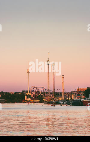 Stockholm sunset view of Grona lund attraction park on the island Djurgarden in Sweden - Stock Image