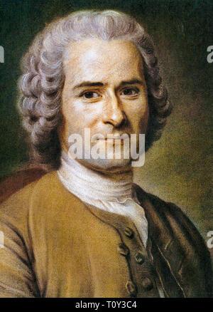 Maurice Quentin de La Tour, Portrait of Jean-Jacques Rousseau (1712-1778), 18th Century - Stock Image