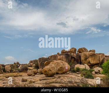 View of ta boulder mountain landscape with blue skies - Stock Image