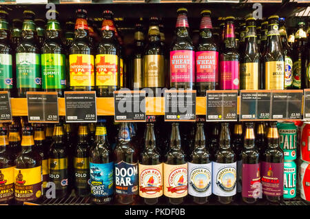 Marks & Spencer Supermarket display of craft  bottled beers from English and Belgian Breweries - Stock Image