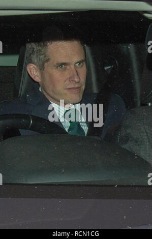 London, United Kingdom. 15 January 2019. Gavin Williamson, Secretary of State for Defence departs the Houses of Parliament after Brexit vote. Credit: Peter Manning/Alamy Live News - Stock Image