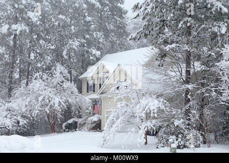 Durham, North Carolina, 17th Jan, 2018. Heavy snowfall in Durham, North Carolina. Credit: Rose-Marie Murray/Alamy - Stock Image