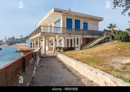 Alexandria, Egypt - April 29 2018: External shot of an old house by the Mediterranean Sea at Montaza park, known as the villa of Mrs Jehan Sadat widow - Stock Image