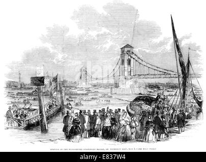 Opening of the Hungerford Suspension footbridge Bridge 1st May 1844 River Thames London - Stock Image