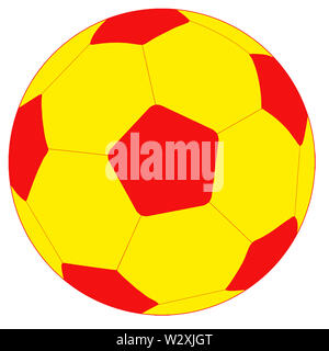 soccer football sport hexagon ball  yellow red illustration - Stock Image
