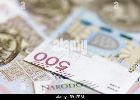 500 PLN banknote macro background - Stock Image