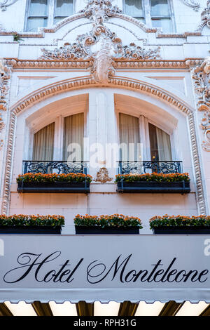 Hotel Monteleone facade, historic landmark, Beaux-Arts architectural style, New Orleans French Quarter, New Orleans, USA - Stock Image