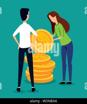 professional businessman and businesswoman teamwork with coins - Stock Image