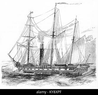Engraving of a sailing ship equipped with steam boilers during the Victorian era. From an original engraving in - Stock Image