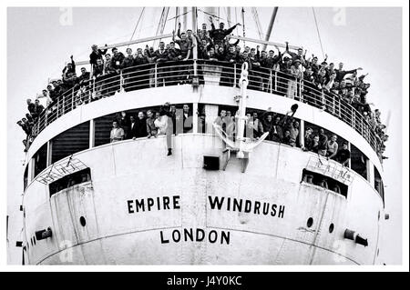 Empire Windrush packed with West Indian immigrants on arrival at the Port of Tilbury on the River Thames on 22 June - Stock Image