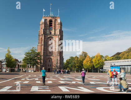 Oldehove - a leaning unfinished church tower in the city of Leeuwarden, Netherlands, Europe - Stock Image