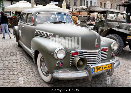 Antique Cadillac army vehicle at VI military vehicles from World War II Rally in Kazimierz Dolny, cars event at - Stock Image