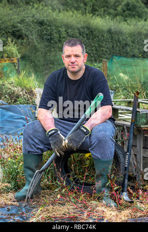John McCudden, Plot 14, Eglinton Growers allotments, Kilwinning, Ayrshire, Scotland - Stock Image